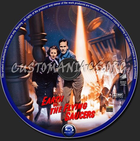 Earth vs The Flying Saucers (1956) blu-ray label