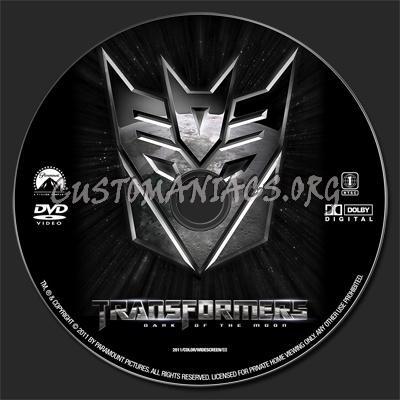 Transformers - Dark of the Moon dvd label