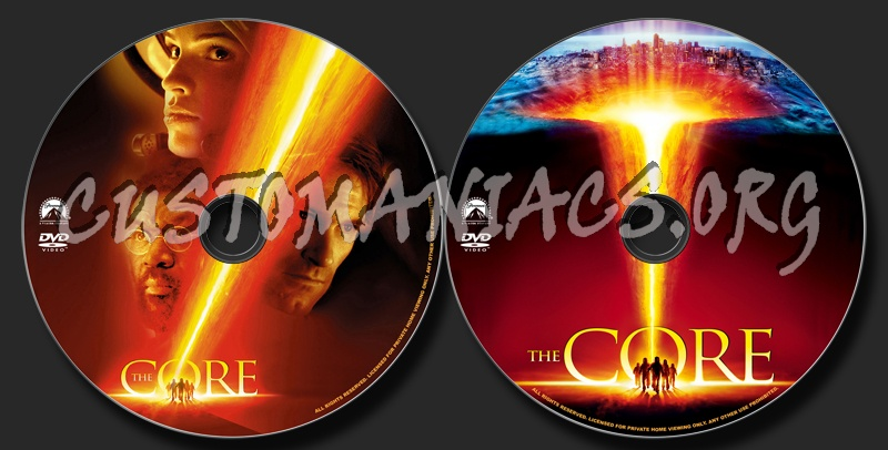 The Core dvd label