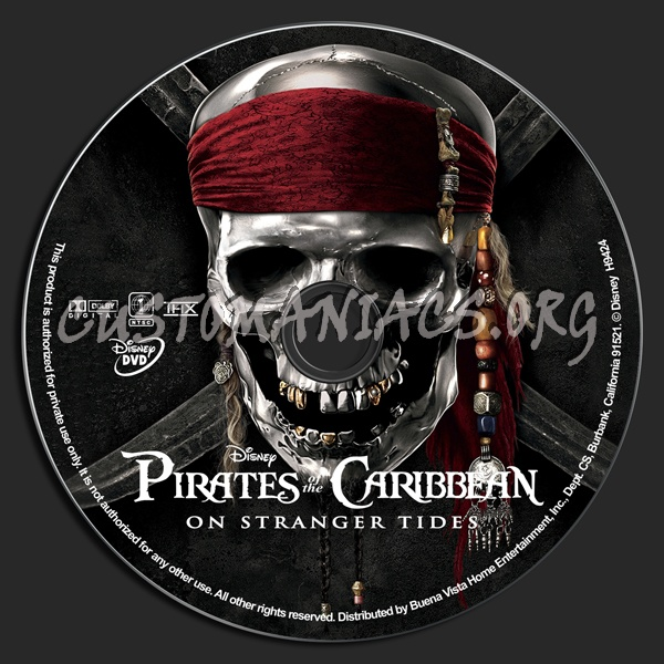 Pirates Of The Caribbean: On Stranger Tides dvd label