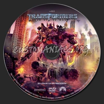 Transformers: Dark Of The Moon dvd label