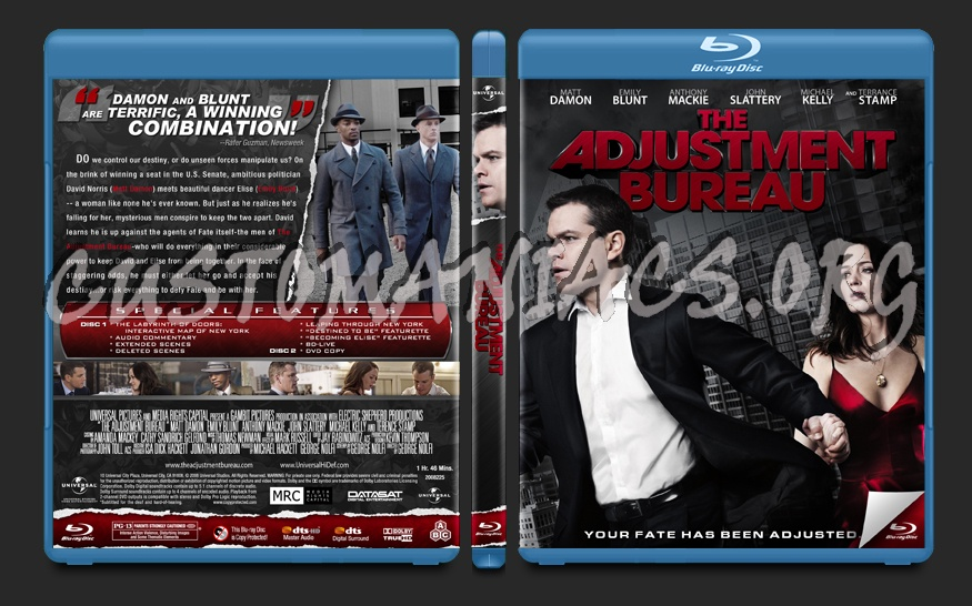 The Adjustment Bureau blu-ray cover