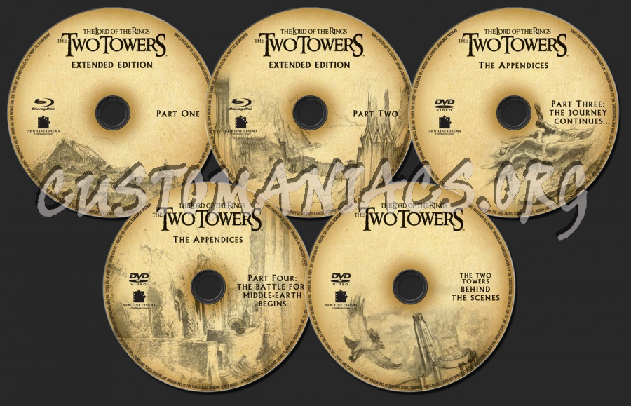 The Lord of the Rings: The Two Towers blu-ray label