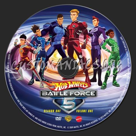 Hot Wheels Battle Force 5 Season 1 Volume 1 dvd label