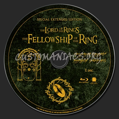The Lord of the Rings: The Fellowship of the Ring Extended Edition blu-ray label