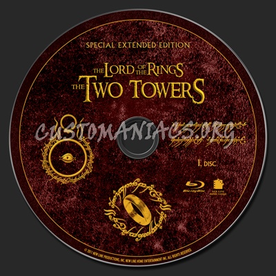 The Lord of the Rings: The Two Towers Extended Edition blu-ray label
