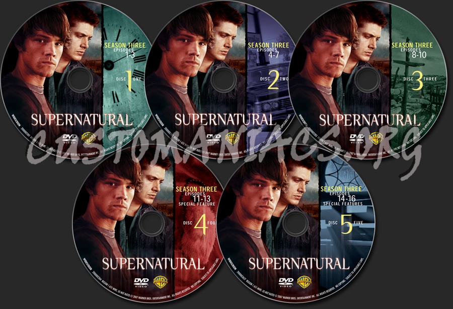 Supernatural Season 3 dvd label