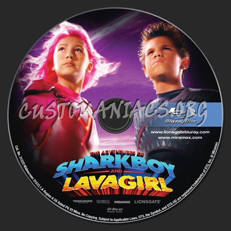The Adventures of Sharkboy and Lavagirl blu-ray label