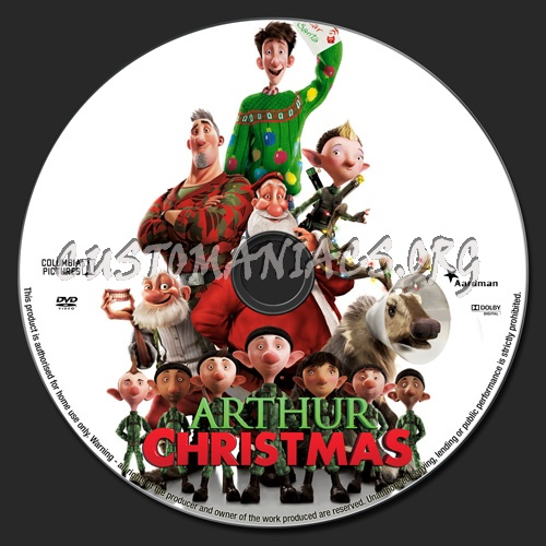 Arthur Christmas dvd label