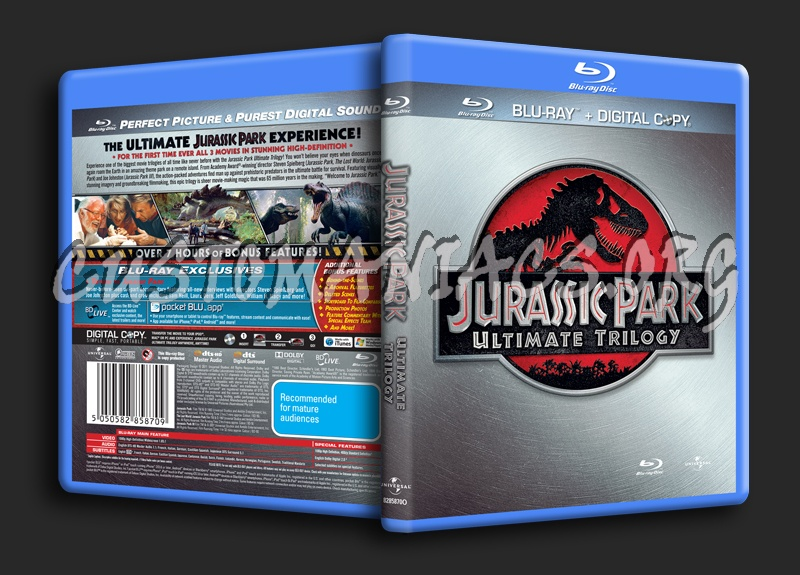 Jurassic Park Ultimate Trilogy blu-ray cover