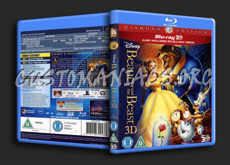 Beauty And The Beast 3d Blu Ray Cover Dvd Covers Labels By