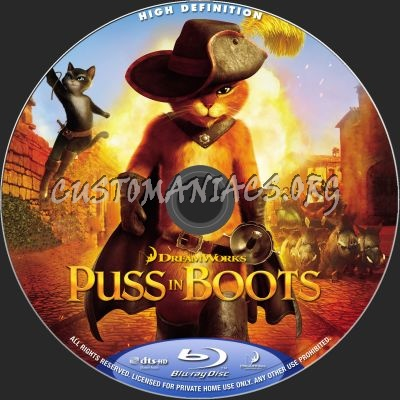 Puss In Boots 2D + 3D blu-ray label