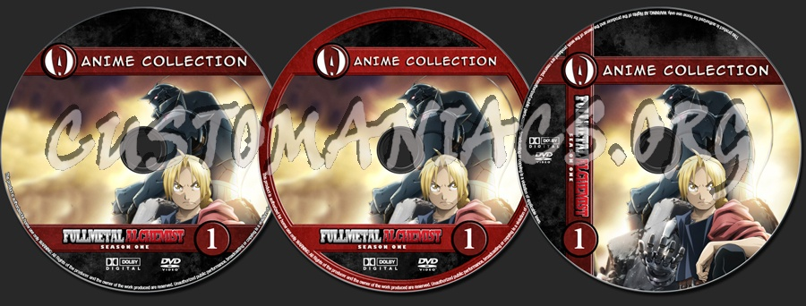 Anime Collection Full Metal Alchemist Season 1 dvd label