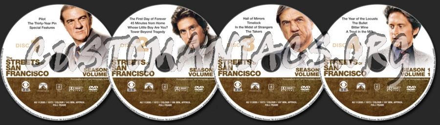 The Streets of San Francisco Season 1 Volume 1 dvd label