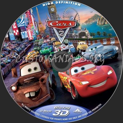 Cars 2 3D blu-ray label
