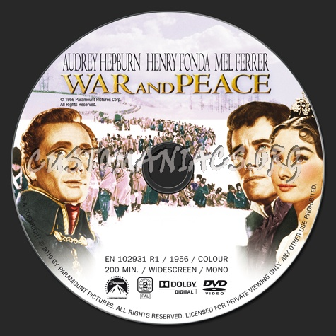 War and Peace dvd label