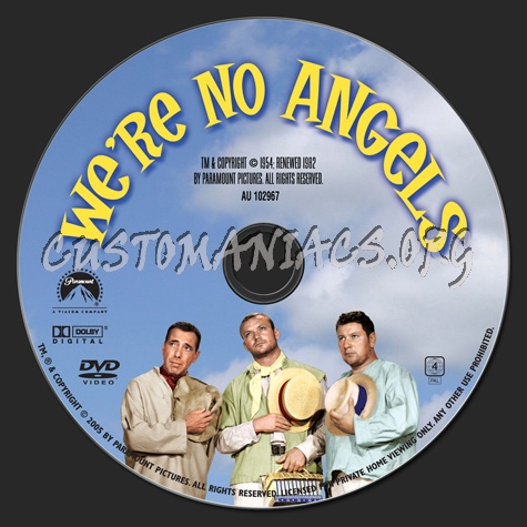 We're No Angels (1954) dvd label