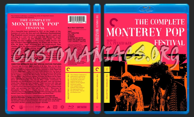 167 - The Complete Monterey Pop Festival blu-ray cover