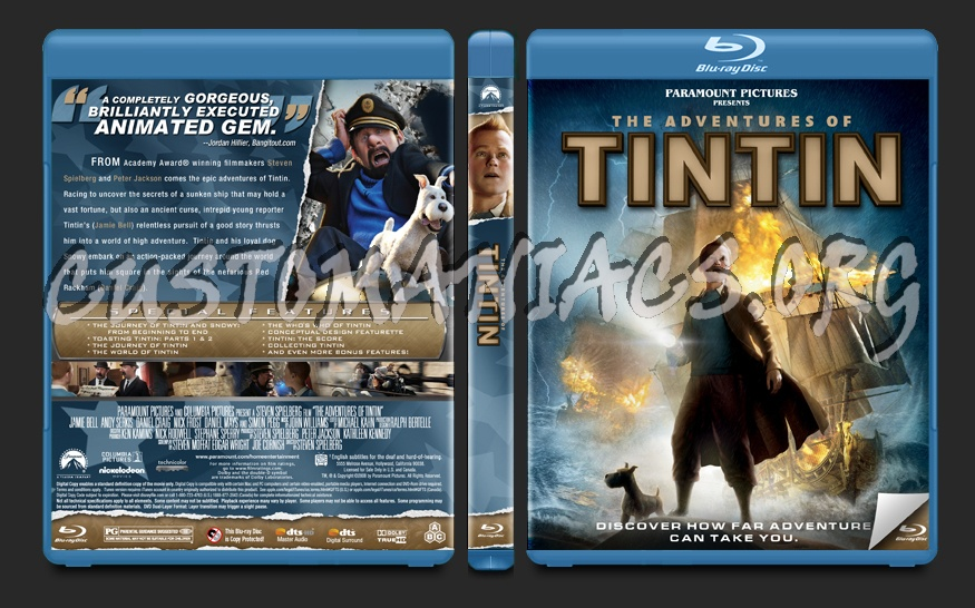 The Adventures of Tintin blu-ray cover