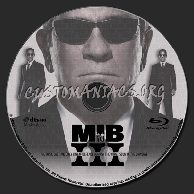 Men in Black III blu-ray label