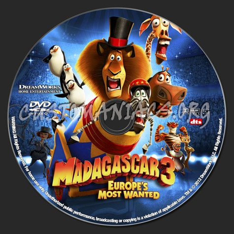 Madagascar 3 dvd label