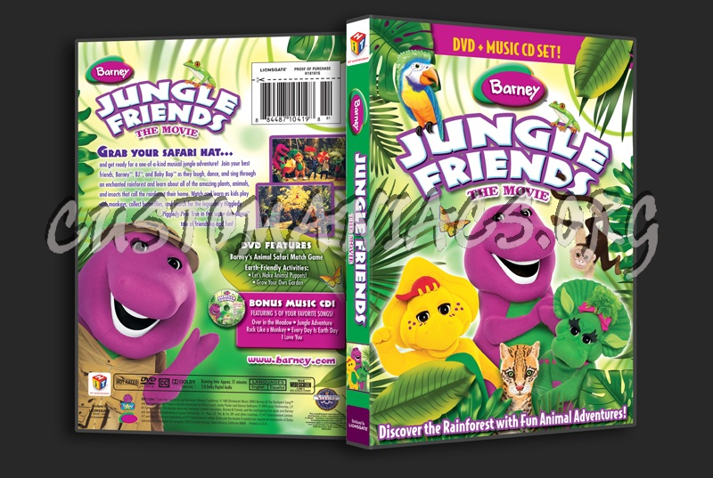 barney jungle friends dvd cover dvd covers amp labels by