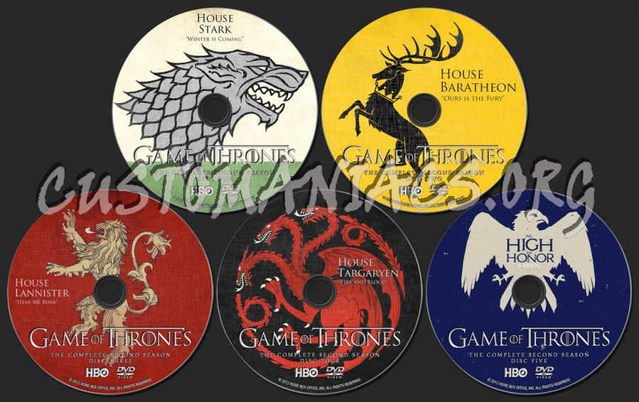 Game Of Thrones Season 2 dvd label