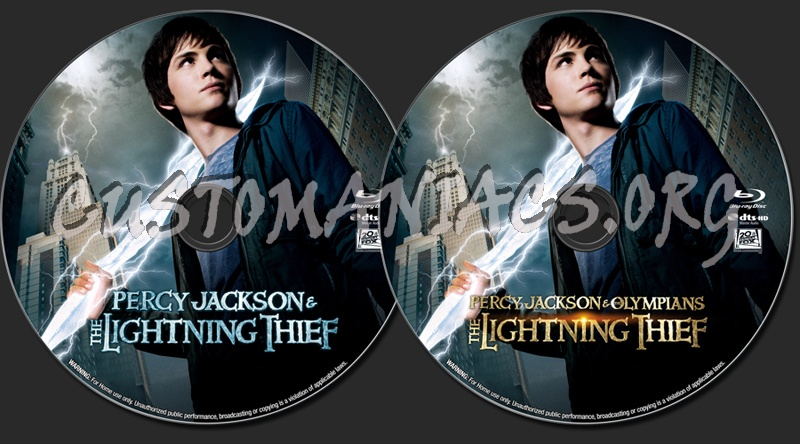 Percy Jackson & the Olympians: The Lightning Thief blu-ray label