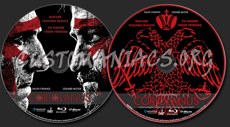 Coriolanus blu-ray label