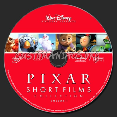 Pixar Short Films Collection Vol 1 dvd label
