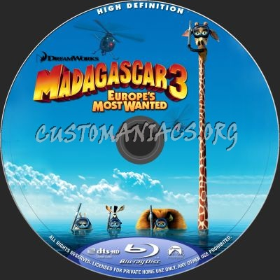 Madagascar 3: Europe's Most Wanted (2D+3D) blu-ray label