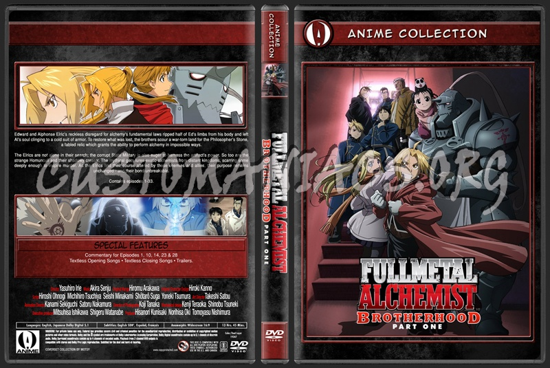 Anime Collection Full Metal Alchemist Brotherhood Part One dvd cover