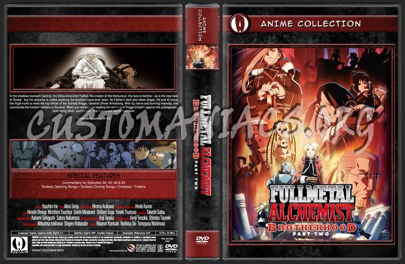 Anime Collection Full Metal Alchemist Brotherhood Part Two dvd cover