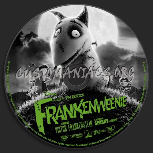 Frankenweenie dvd label