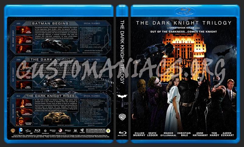 The Dark Knight Trilogy - Batman Begins - The Dark Knight - The Dark Knight Rises blu-ray cover