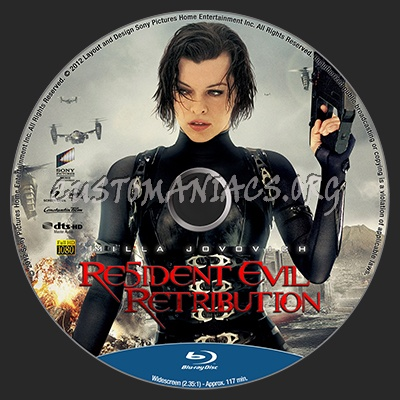 Resident Evil Retribution blu-ray label