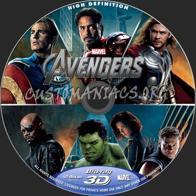 The Avengers 2D+3D blu-ray label