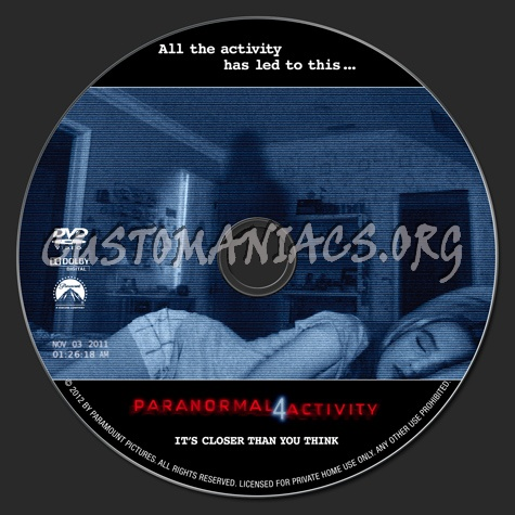 Paranormal Activity 4 dvd label - DVD Covers & Labels by Customaniacs