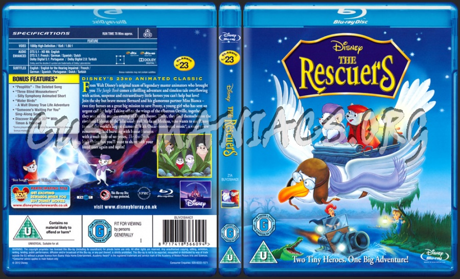 The Rescuers blu-ray cover