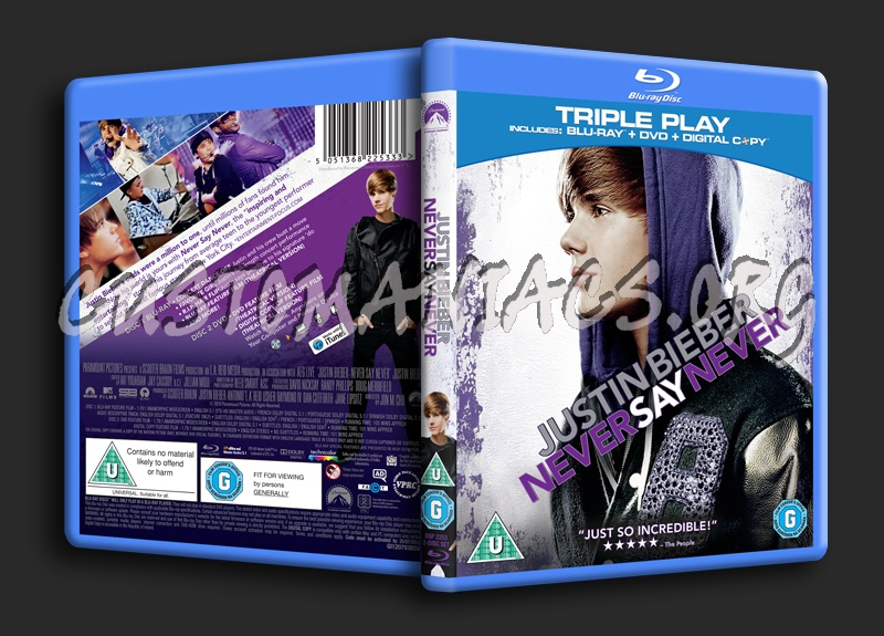 Justin Bieber Never Say Never blu-ray cover
