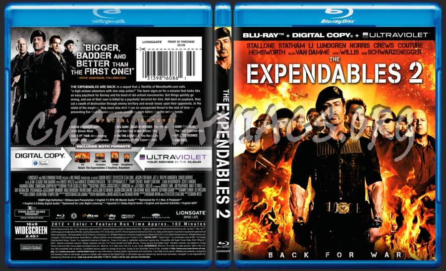 The Expendables 2 blu-ray cover