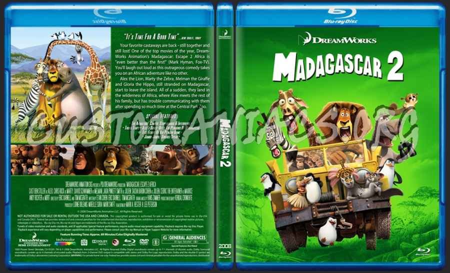 Madagascar 2 Movie Madagascar 2 Blu Ray Cover