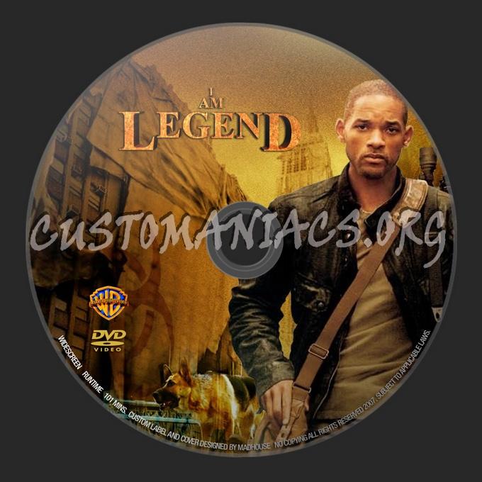 I Am Legend dvd label