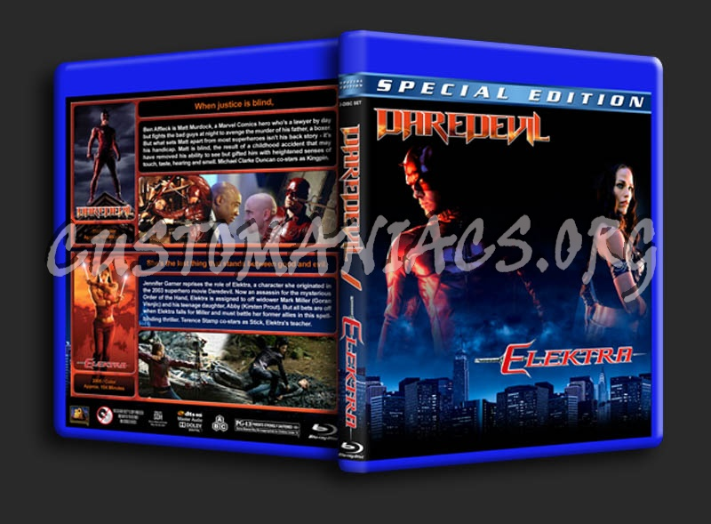 Daredevil / Elekra Double Feature blu-ray cover