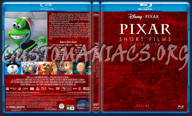 Pixar Short Film Collection Volume 1 Blu Ray Cover Dvd Covers