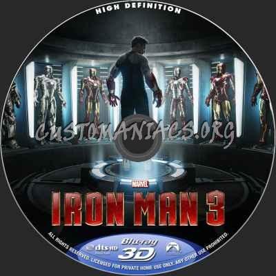 Iron Man 3 (2D+3D) blu-ray label