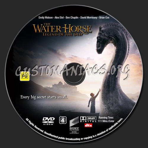 The Water Horse : Legend Of The Deep dvd label