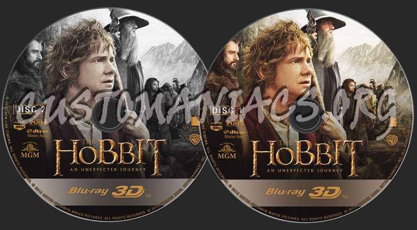 The Hobbit: An Unexpected Journey (3D) blu-ray label