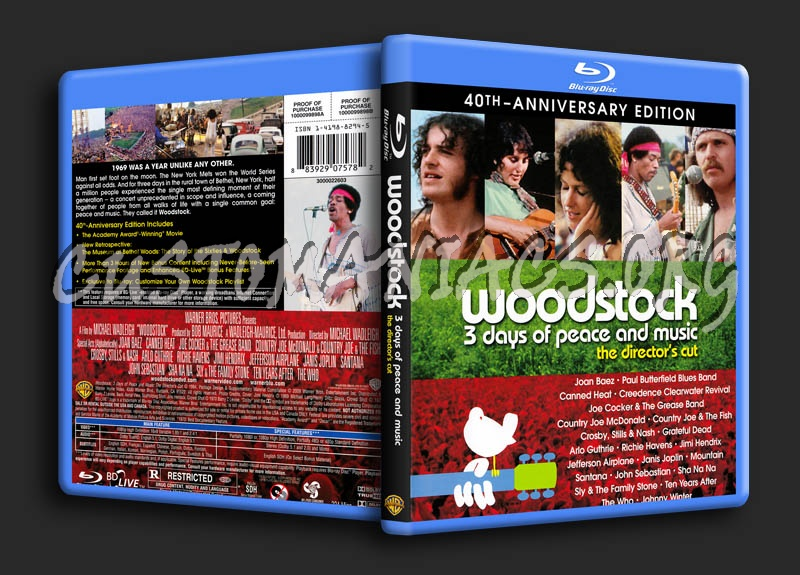 Woodstock 3 Days of Peace and Music blu-ray cover