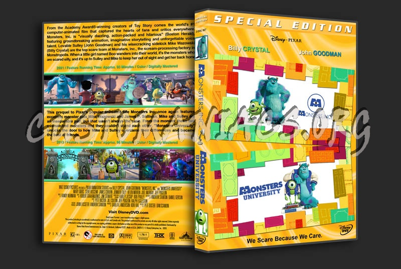 Monsters Inc / Monsters University Double dvd cover